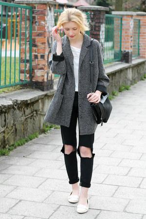 white Zara shoes - gray second hand coat - black DIY jeans - black Zara bag