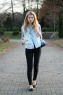 Black-secon-hand-jeans-sky-blue-dzky-bag-silver-second-hand-blouse