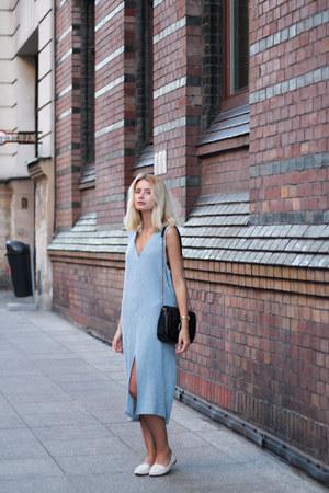 black Zara bag - light blue pull&bear dress - white Zara loafers
