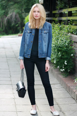 navy bpc jacket - white Zara shoes - black H&M jeans - black Chanel bag