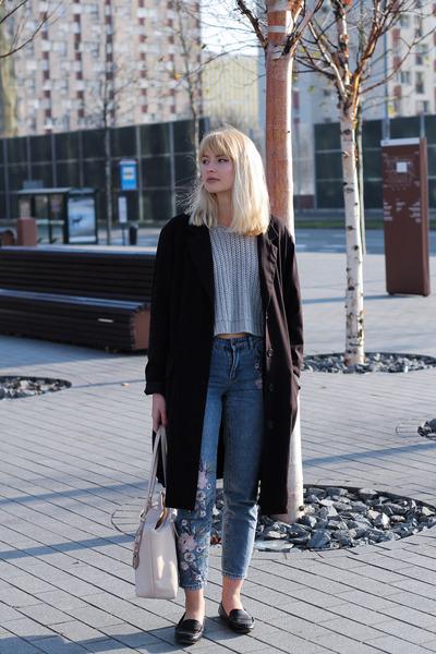 black vintage coat - sky blue new look jeans - silver Bik Bok sweater