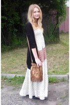 beige dress - black shoes - bronze bag - black cardigan