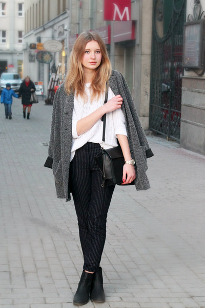 gray second hand coat - white F&F sweater - black Zara bag - navy H&M pants