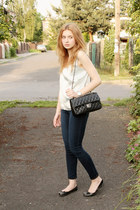 light blue second hand top - navy H&M jeans - black Chanel bag