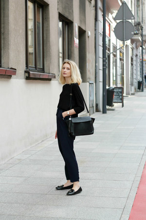 black Zara shoes - black Zara bag - navy Mango pants - black Bershka blouse