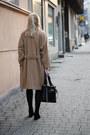 Dark-gray-bershka-dress-camel-stradivarius-coat-black-zara-bag