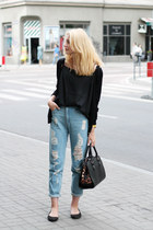 black Parfois bag - sky blue Bershka jeans - black second hand top