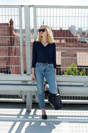 black Zara shoes - sky blue pull&bear jeans - navy Mango shirt
