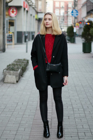 red Bershka sweater - black labotti shoes - black Tally Weijl coat