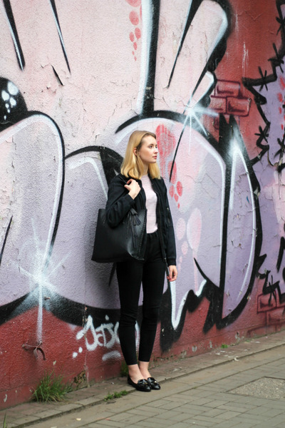 navy H&M jacket - black Bershka bag - light pink Stradivarius top