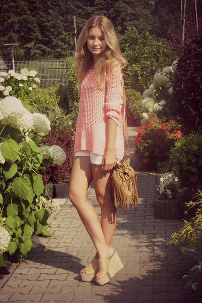 H&M sweater - Primark bag - BonPrix shorts - H&M wedges