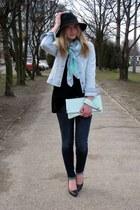 Glitter hat - H&M jeans - Bershka jacket - Glitter scarf - Glitter bag