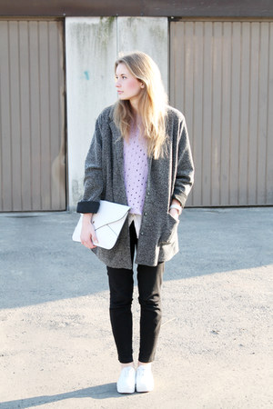 dark gray second hand coat - white H&M shoes - periwinkle second hand sweater