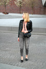 Heather-gray-pull-bear-jeans-black-h-m-jacket-pink-bershka-sweater