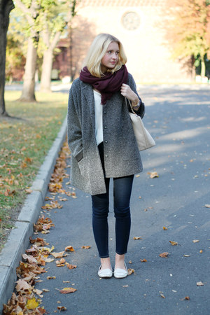 white Zara boots - gray second hand coat - navy H&M jeans - maroon H&M scarf