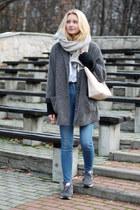 heather gray second hand coat - light pink Michael Kors bag