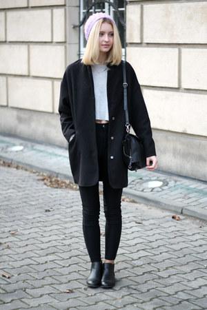 black Tally Weijl coat - purple Hand Made hat - black Zara bag
