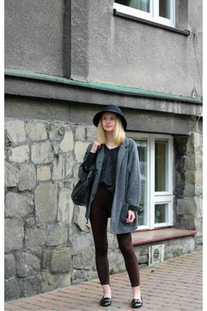 black Zara shoes - dark gray second hand coat - black Glitter hat