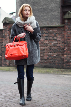 dark gray second hand coat - navy H&M jeans - carrot orange Mohito bag