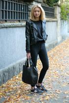 black H&M jeans - black H&M jacket - dark gray second hand blouse