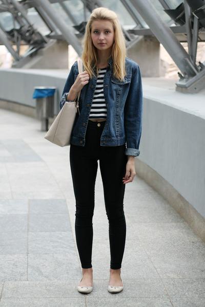 black H&M jeans - navy John Baner jacket - light pink Michael Kors bag