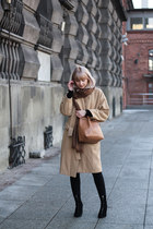 camel Stradivarius coat - black Bershka boots - tawny Parfois bag