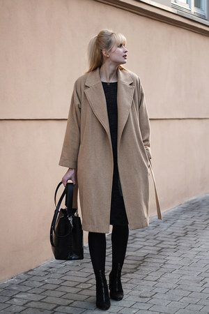dark gray Bershka dress - camel Stradivarius coat - black Zara bag