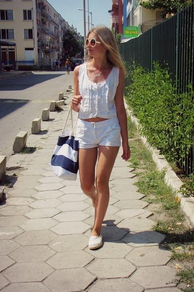 second hand top - Glitter bag - Bon Prix shorts - Gitter sunglasses