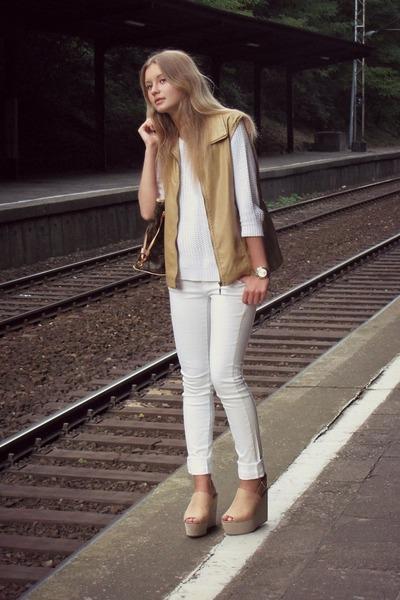 F&F sweater - Louis Vuitton bag - Mango pants - H&M wedges - second hand vest