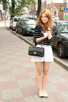 black Chanel bag - white H&M shoes - white Deni Cler skirt