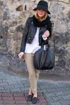 Glitter hat - H&M jacket - H&M scarf - H&M pants - Mango skirt