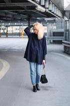 navy vintage coat - sky blue pull&bear jeans - black Zara bag