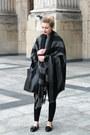 Black-zara-shoes-charcoal-gray-bershka-coat