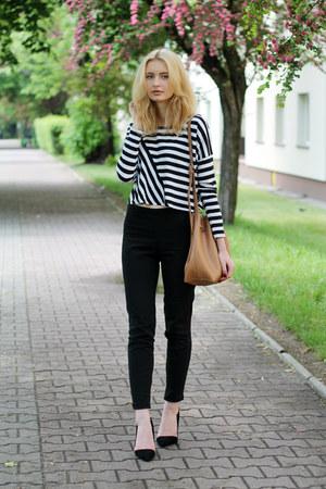 black H&M top - black H&M jeans - bronze Parfois bag - black Elilu heels