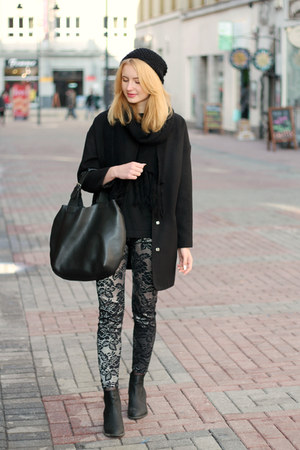 black H&M boots - black Tally Weijl coat - black Manzanna bag
