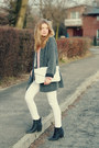 Black-h-m-shoes-heather-gray-second-hand-coat-white-mango-jeans