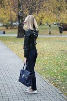 white Zara shoes - black H&M jacket - navy Mizensa bag - white Stradivarius top