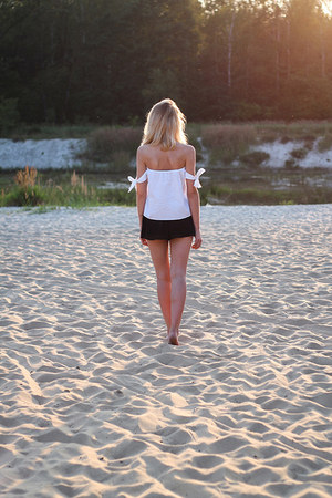 black Bershka shorts - white Bershka top