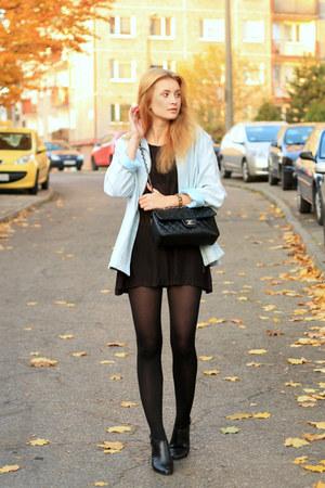 black H&M dress - light blue second hand jacket - black Chanel bag