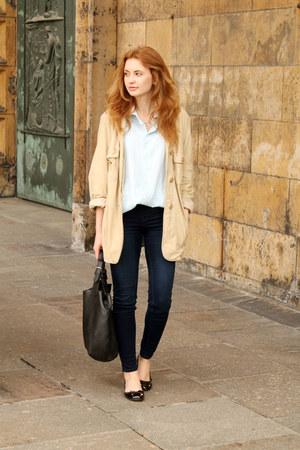 eggshell Max Mara coat - black Parfois shoes - navy H&M jeans
