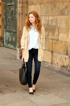 eggshell Max Mara coat - black Parfois shoes - navy H&M jeans