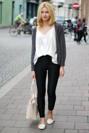 white Zara shoes - black H&M jeans - heather gray second hand sweater