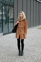 black Bershka bag - bronze Stradivarius coat - black H&M flats