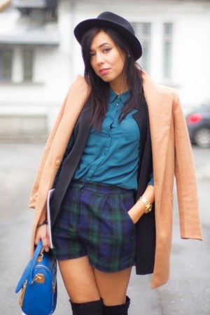 Sheinside coat - dark green shirt - brown tartan River Island shorts