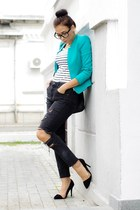 Zara blazer - turquoise blue H&M jeans - black t-shirt