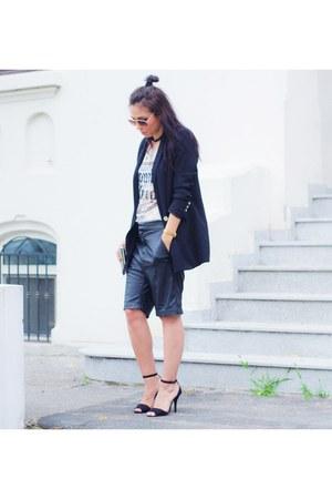 black Stradivarius blazer - white romwe t-shirt - Sheinside heels