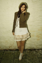 olive green Zara jacket - cream Topshop skirt - cream Zara heels