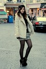 Beige-fake-fur-zara-coat-black-chiffon-zara-top-camel-mango-skirt