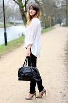 light purple Mango heels - black acne jeans - black longchamp bag