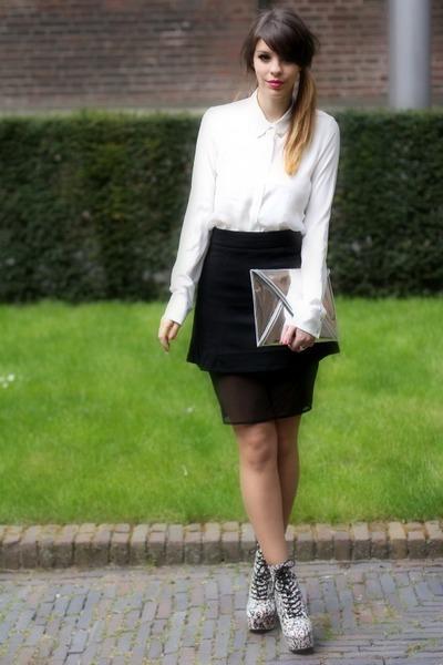 bubble gum graffiti asos wedges - silver H&M bag - white Zara blouse